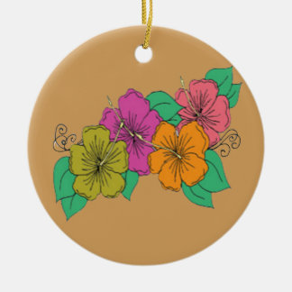Hibiscus Flower Ceramic Ornament