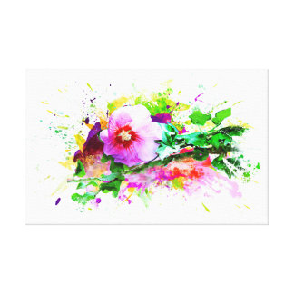 Hibiscus Flower, Hibiskus flower, Watercolor Canvas Print