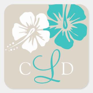 Hibiscus Flower Monogram Wedding Square Sticker