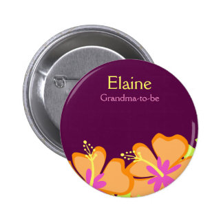 HIBISCUS FLOWER NAME TAG Personalized Button