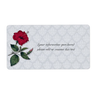 HIbiscus flower on lacy background Shipping Label