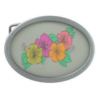 Hibiscus Flower Oval Belt Buckles