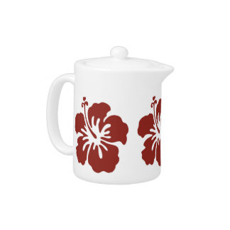 Hibiscus Flower Pattern Tropical Themed Teapot