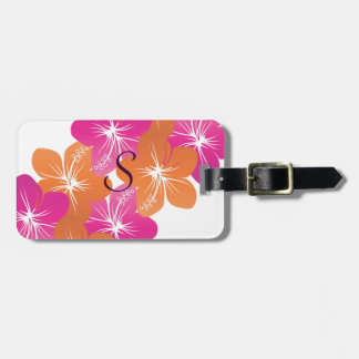 Hibiscus Flower Pink and Orange Customizable Color Bag Tag