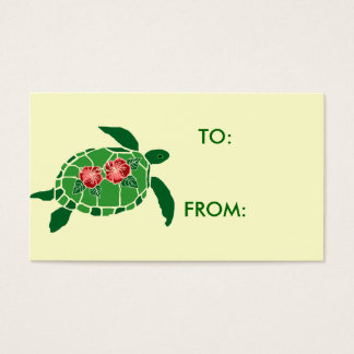Hibiscus flower sea turtle gift tag