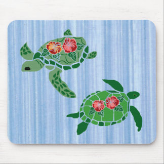Hibiscus flower sea turtle mouse pad