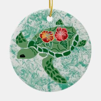 Hibiscus flower sea turtle Ornament