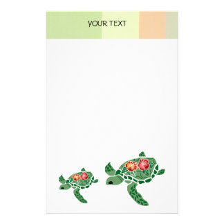 Hibiscus flower sea turtle, stationary stationery paper