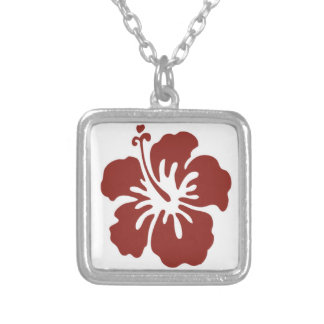 Hibiscus Flower Silver Necklace