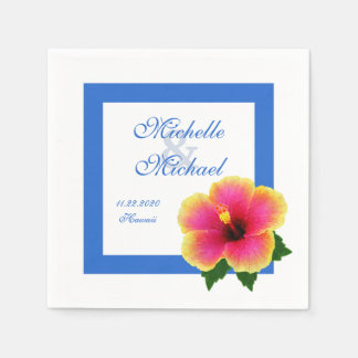 Hibiscus Flower Wedding Event Blue Disposable Napkin