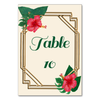 Hibiscus Flower wedding Table numbers Table Cards