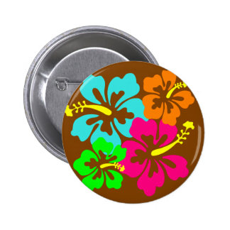 Hibiscus flowers 2 inch round button