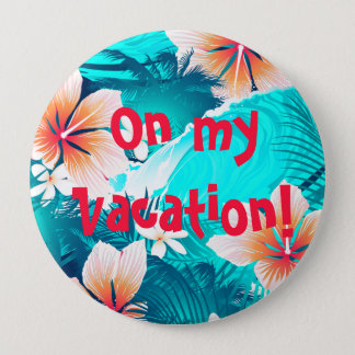 Hibiscus flowers at the beach 4 inch round button