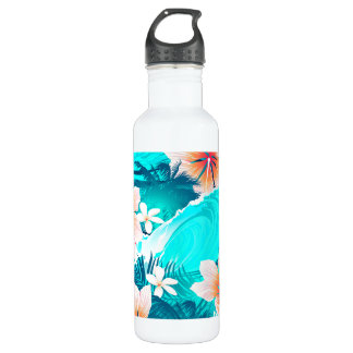Hibiscus flowers at the beach 710 ml water bottle