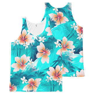 Hibiscus flowers at the beach All-Over-Print tank top