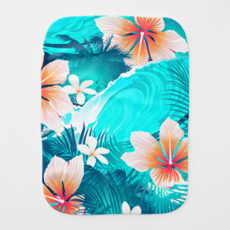 Hibiscus flowers at the beach burp cloth