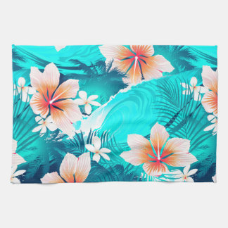 Hibiscus flowers at the beach kitchen towel