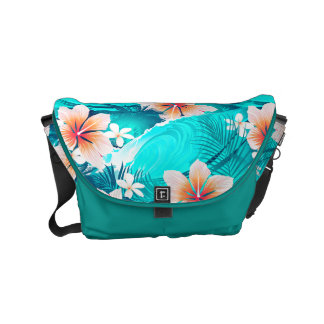 Hibiscus flowers at the beach messenger bag