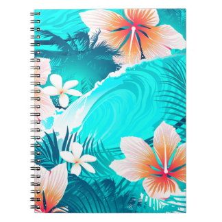Hibiscus flowers at the beach notebooks