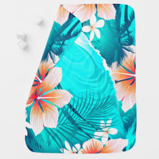 Hibiscus flowers at the beach swaddle blanket