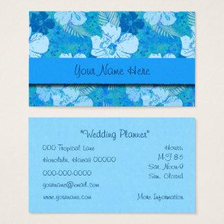 Hibiscus Flowers Blue Batik Business Card