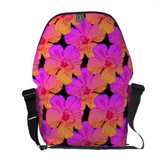 Hibiscus Flowers Pink on Black Courier Bags