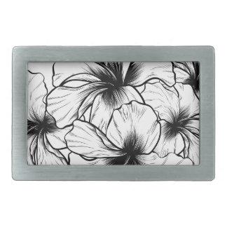 Hibiscus Flowers Vintage Retro Woodcut Etching Belt Buckles