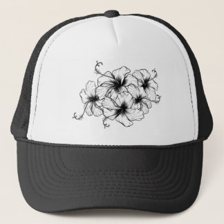 Hibiscus Flowers Vintage Retro Woodcut Etching Trucker Hat