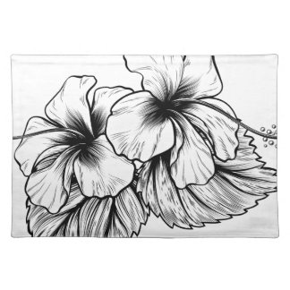 Hibiscus Flowers Vintage Style Woodcut Engraved Et Placemat