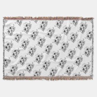 Hibiscus Flowers Vintage Style Woodcut Engraved Et Throw Blanket