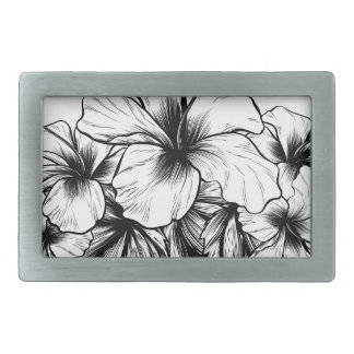 Hibiscus Flowers Vintage Style Woodcut Etching Rectangular Belt Buckle