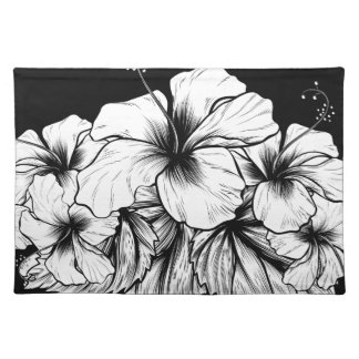 Hibiscus Flowers Vintage Woodcut Etching Engraving Placemat