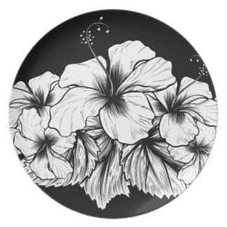 Hibiscus Flowers Vintage Woodcut Etching Engraving Plate