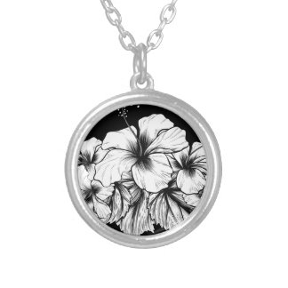 Hibiscus Flowers Vintage Woodcut Etching Engraving Silver Plated Necklace