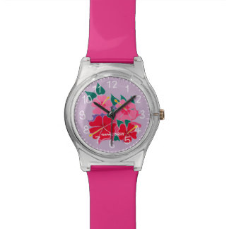 Hibiscus Flowers watch by artist Joanne Short