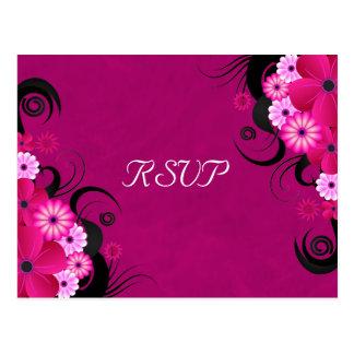 Hibiscus Fuchsia Floral Elegant RSVP Reply Cards Postcard