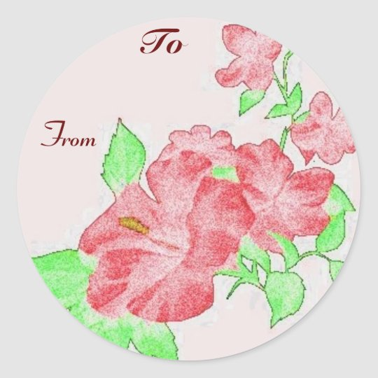Hibiscus Gift Tag Stickers