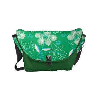 Hibiscus green printed embroidery commuter bags