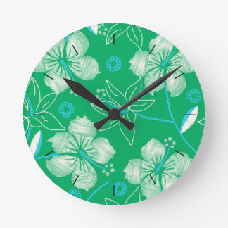 Hibiscus green printed embroidery round clock