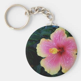 Hibiscus Hawaiian Flower Basic Round Button Keychain