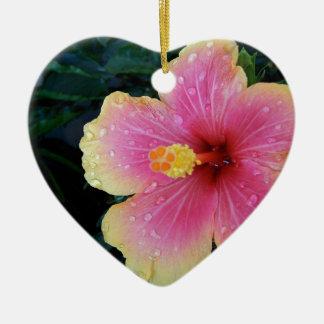 Hibiscus Hawaiian Flower Ceramic Heart Ornament