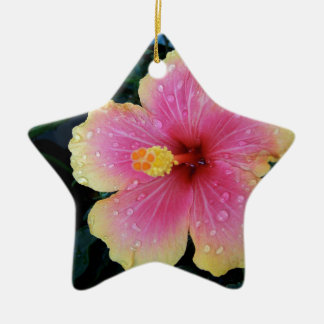 Hibiscus Hawaiian Flower Ceramic Ornament