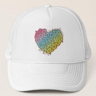Hibiscus heart trucker hat