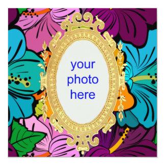 "Hibiscus Hula 5.25"" Square Invitation Card"