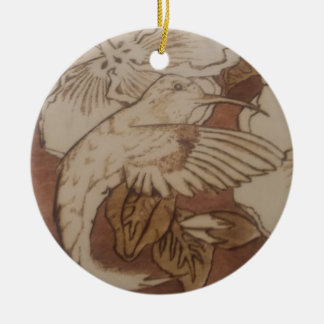 Hibiscus Humming Bird Ceramic Ornament