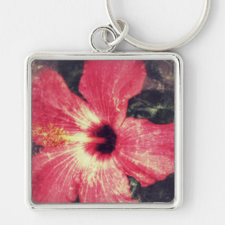 Hibiscus Keychain Distressed