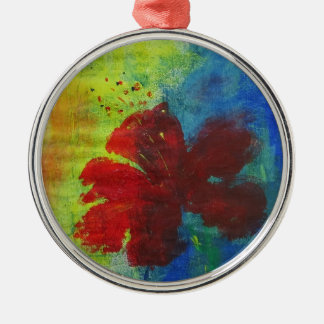 hibiscus metal ornament
