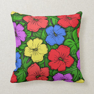 Hibiscus & Monstera #4 Throw Pillow