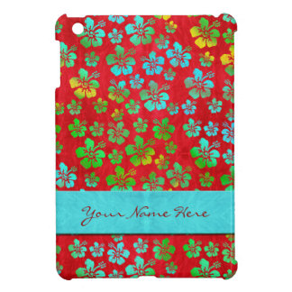 Hibiscus Multicolor Flowers on Red Cover For The iPad Mini