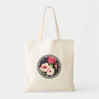 Hibiscus mystery medallion tote bag